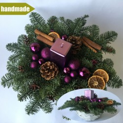 Arrangement of Noble Fir - round, purple