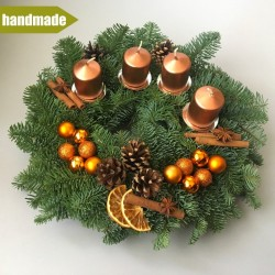 Advent Wreath of Noble Fir - round, copper