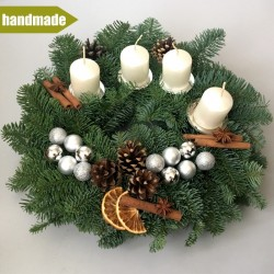 Advent Wreath of Noble Fir - round, white
