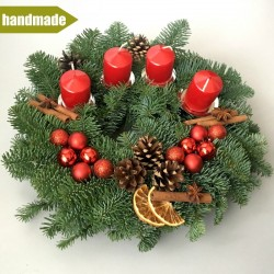 Advent Wreath of Noble Fir - round, red
